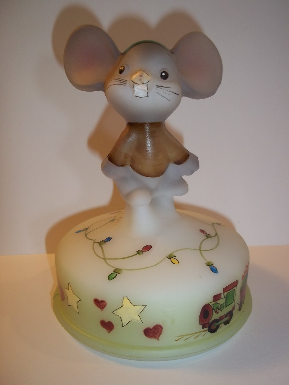 Fenton Glass Christmas Lights Mouse on Font #2/10 Ltd Ed Gift Shop Exclusive