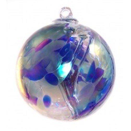 """6"""" European Art Glass Spirit Tree Blue """"OCEANIC"""" Iridized Witch Ball Kugel"""