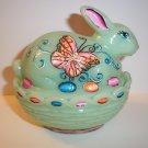 Mosser Glass Jadeite Green HP Easter Bunny Box Dish by Fenton Artist Sunday Davis OOAK