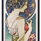 Alphonse Mucha - PRIMROSE - Stained Glass Panel Art Nouveau Maiden 1899