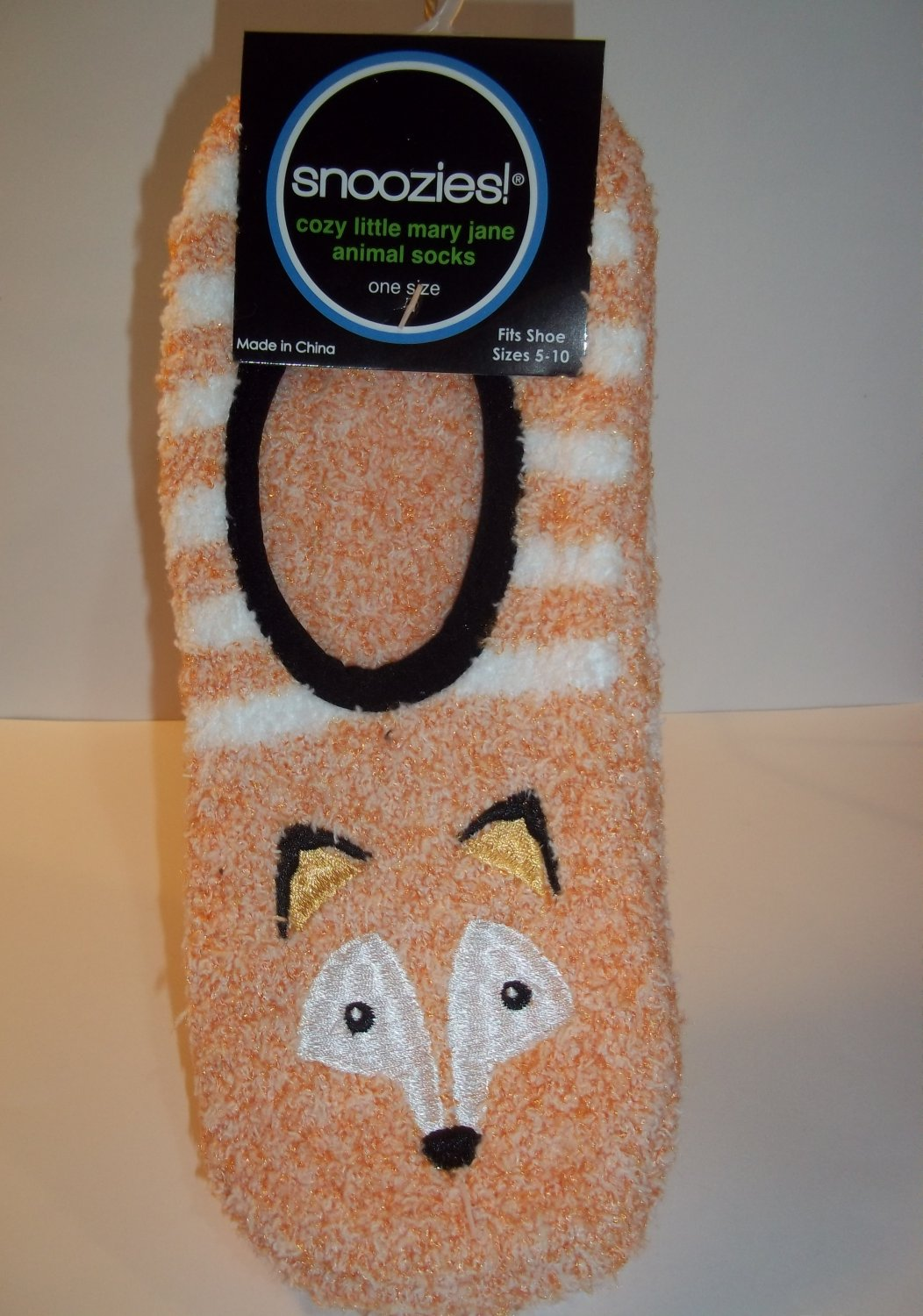 Snoozies Mary Jane Animal Socks - Orange FOX Pattern - Women's Size 5-10
