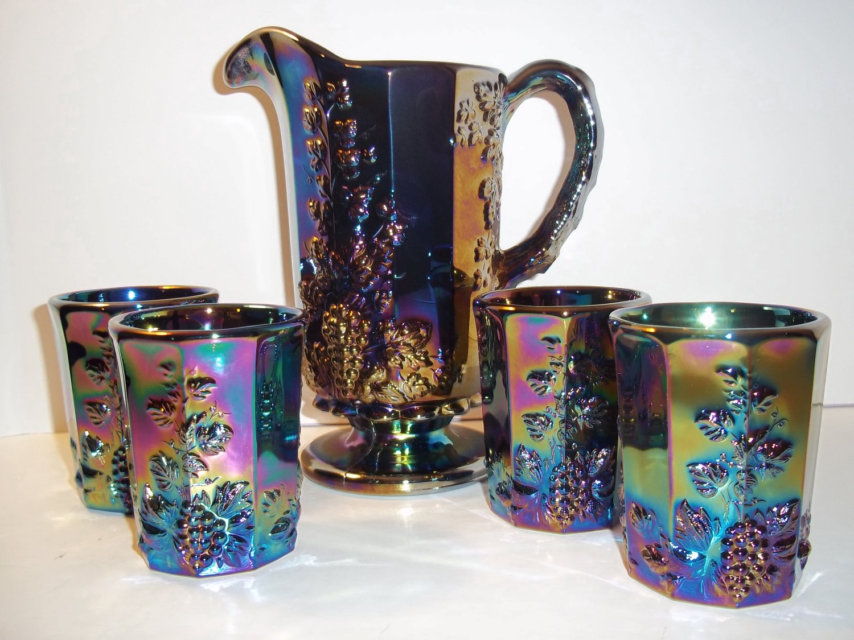 Mosser Glass Amethyst Purple Carnival Paneled Grape Pitcher & 4 Tumblers Set