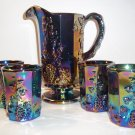 Mosser Glass Amethyst Purple Carnival Paneled Grape Pitcher & 4 Tumblers Set