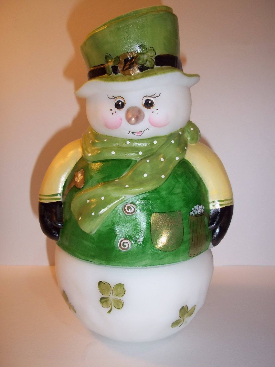 Fenton Glass Snowman Fairy Light Luck of the Irish St. Patrick's Day LE GSE #4 of 14
