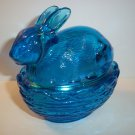 Mosser Glass Colonial Blue Easter Bunny Rabbit on Nest Basket Box Candy Dish