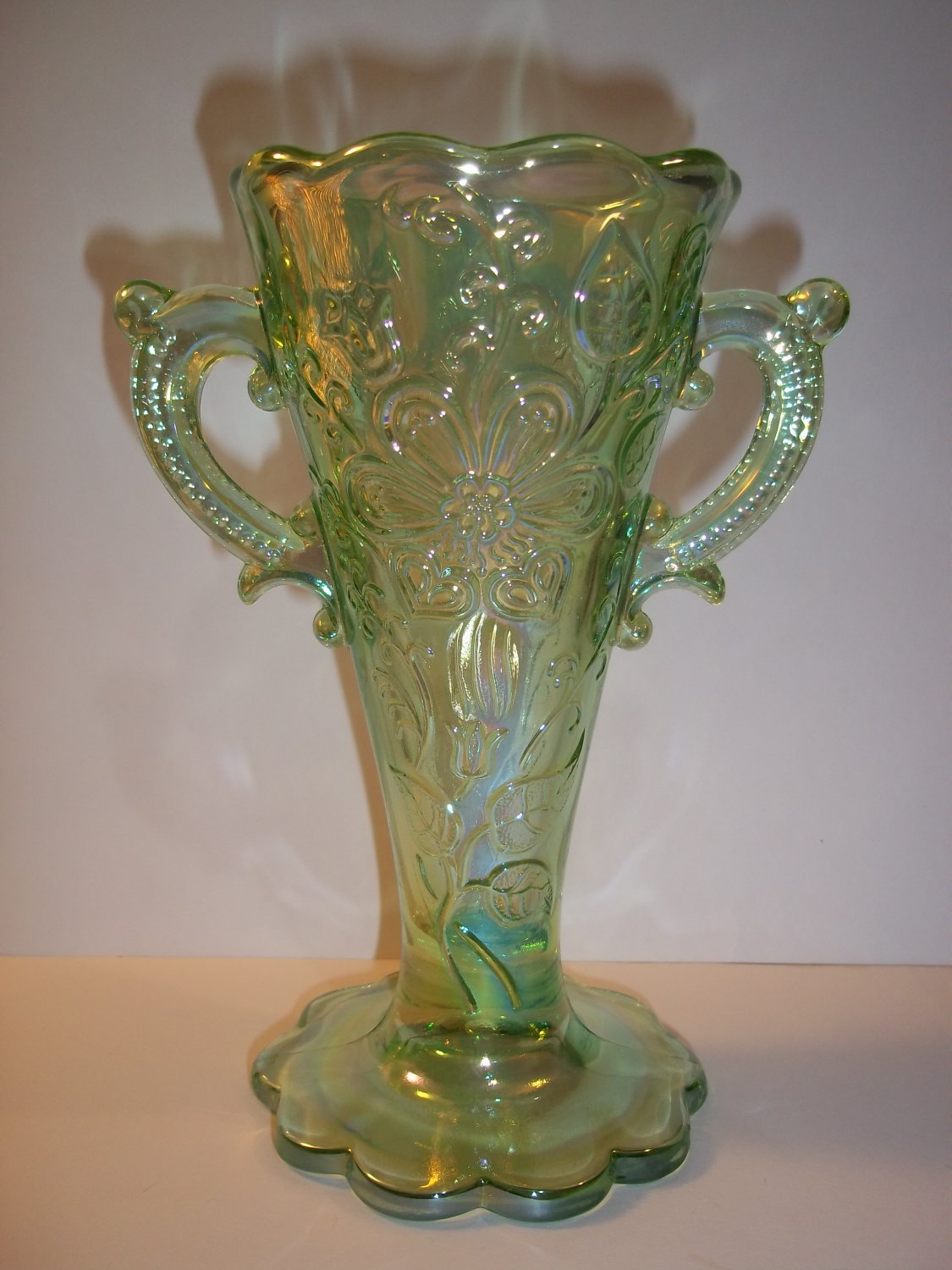 Mosser Glass Peridot Green Carnival Mary Ann Two Handled Bud Vase Dugan Mold New