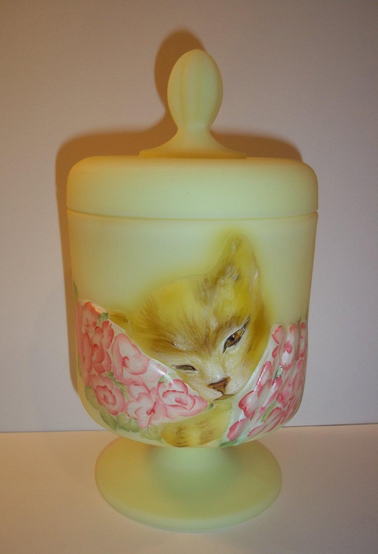 Fenton Glass Buttercream Yellow Chessie Railroad Cat Box Dish Brown Tabby Ltd Ed #1/3