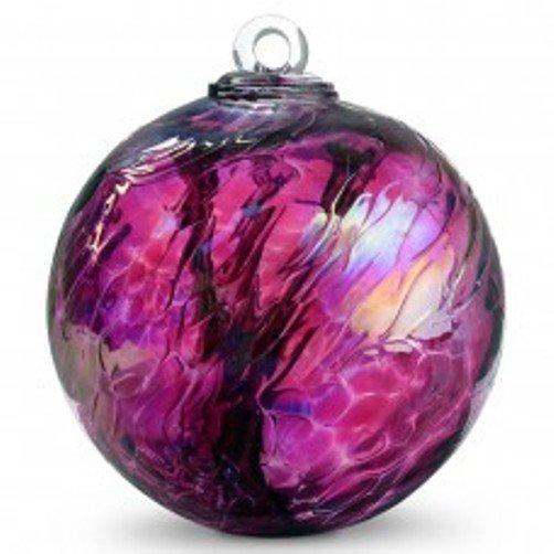 "6"" European Art Glass Spirit Tree WINE RED IRIDIZED LUSTER Witch Ball Kugel"