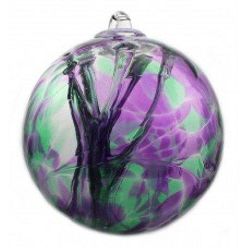 """6"""" European Art Glass Spirit Tree """"IRIS BOUQUET"""" Purple Green Witch Ball Kugel"""