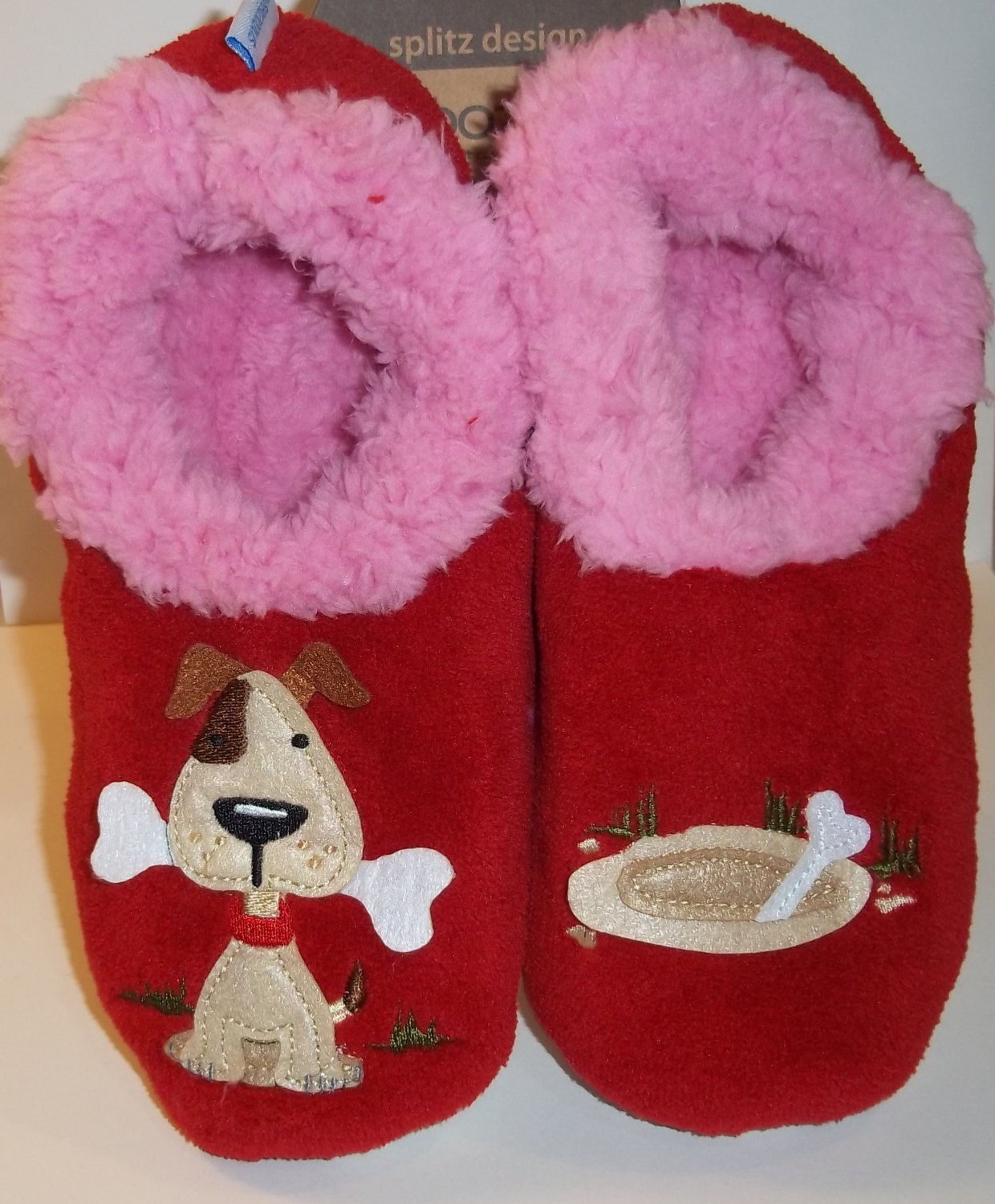 Snoozies Splitz Design Red Pink Puppy Dog Bone Animal Slippers Womens Size L 9-10