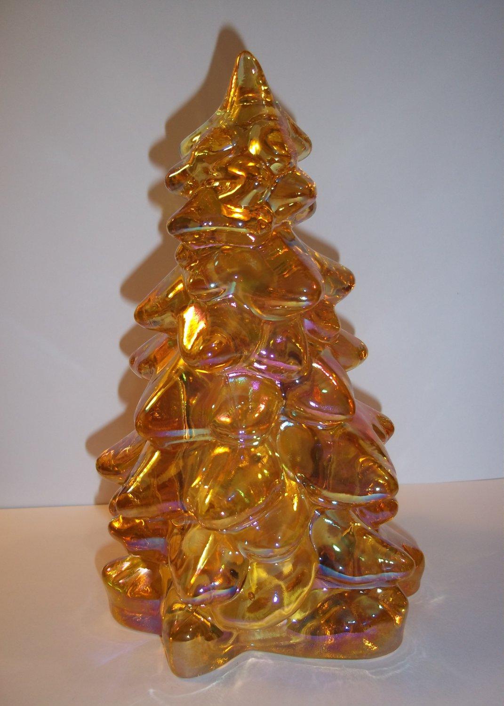 "Mosser Glass HONEY AMBER GOLD CARNIVAL LARGE 8"" CHRISTMAS TREE Figurine"