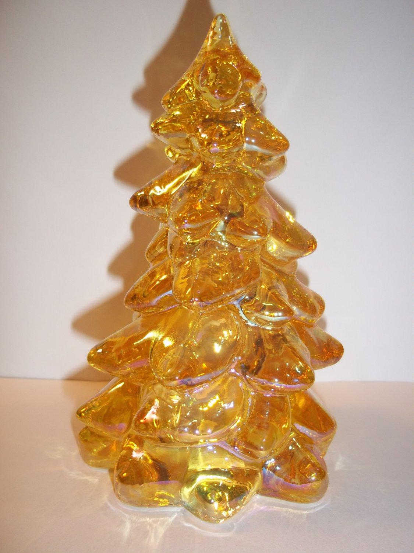 "Mosser Glass HONEY AMBER GOLD CARNIVAL 5.5"" Medium CHRISTMAS TREE Figurine"