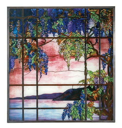 """Tiffany Style """"VIEW OF OYSTER BAY"""" Stained Art Glass Panel Hanging Display"""