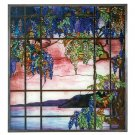 "Tiffany Style ""VIEW OF OYSTER BAY"" Stained Art Glass Panel Hanging Display"