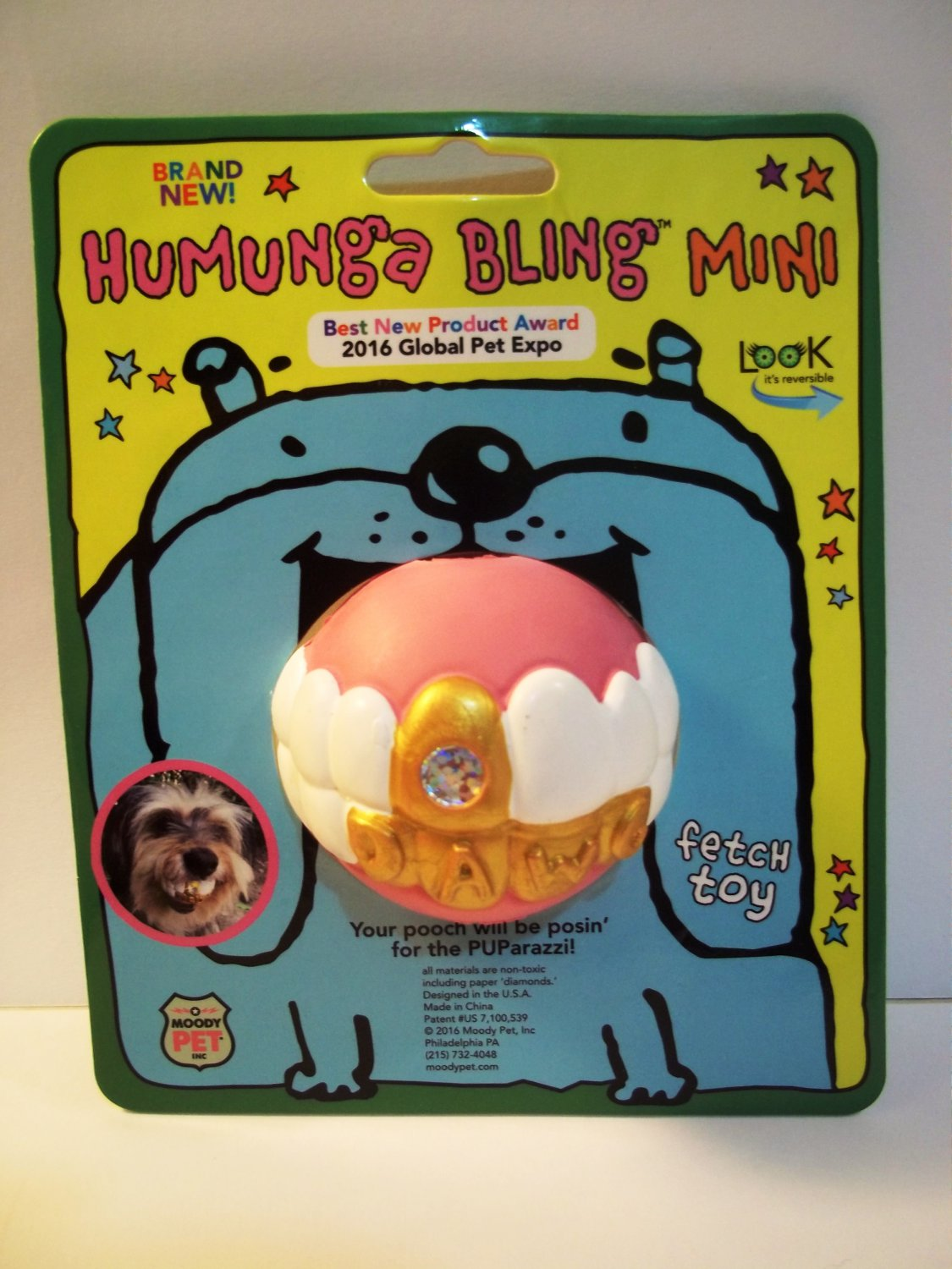 HUMUNGA BLING MINI Funny Teeth Rubber Pet Dog Toy Fetch Ball for SMALL DOGS