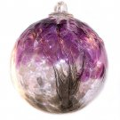 "6"" European Art Glass Spirit Tree Embossed Leaf ""BLACK CURRANT"" Witch Ball Kugel"