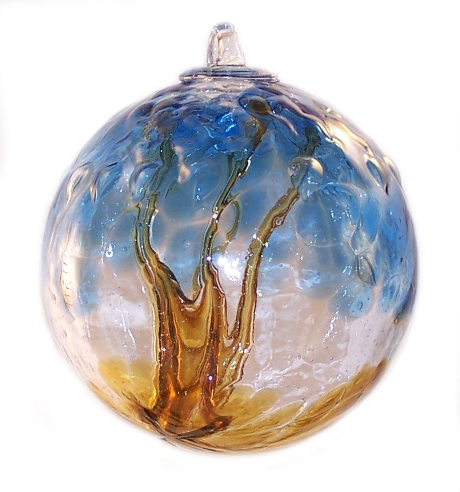 Quot european art glass spirit tree embossed leaf erie