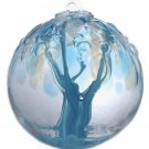 "6"" European Art Glass Spirit Tree Embossed Leaf ""ENLIVEN"" Blue Witch Ball Kugel"