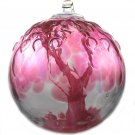 "6"" European Art Glass Spirit Tree Embossed Leaf ""TEA ROSE "" Witch Ball Kugel"