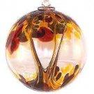 """6"""" European Art Glass Spirit Tree AUTUMN Brown Gold Witch Ball Friendship Kugel"""