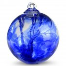 "6"" European Art Glass Spirit Tree SARI BLUE IRIDIZED Luster Witch Ball Kugel"