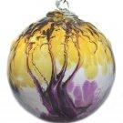 "6"" European Art Glass Spirit Tree Embossed Leaf ""ASSURANCE"" Witch Ball Kugel"