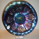"Fenton Glass Black Carnival Peacock & Dahlia 6.5"" Plate QVC Ltd Ed #292/900"