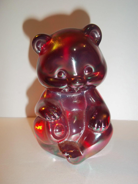 Fenton Glass RUBY RED CARNIVAL IRIDIZED SITTING BEAR Figurine PC