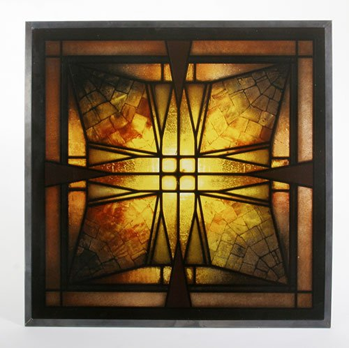 Frank Lloyd Wright Ceiling Light Frank Thomas House Stained Art Glass Panel