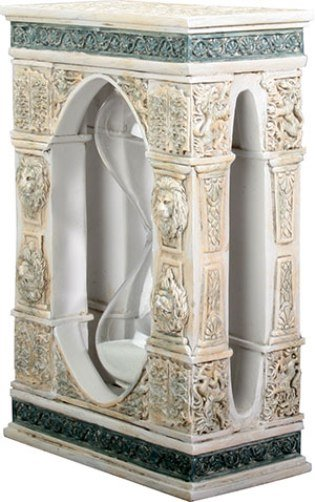 Leone Statuesque Decorative Sand Timer Lions & Italian Columns 5 Minute