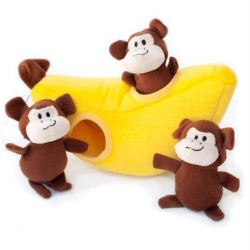 Zippy Burrows Monkey 'N Banana Interactive Squeaky Hide & Seek Puzzle Dog Toy