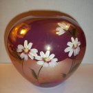 Fenton Glass RASPBERRY IRIDIZED CARNIVAL ROUND VASE DAISIES Gift Shop Exclusive!