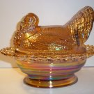 "Mosser Glass AMBER CARNIVAL 8.5"" TURKEY ON NEST BASKET Covered Candy Dish"