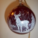 Fenton Glass Red Deer Buck Blown Christmas Ornament NFGS 2017 Susan Bryan