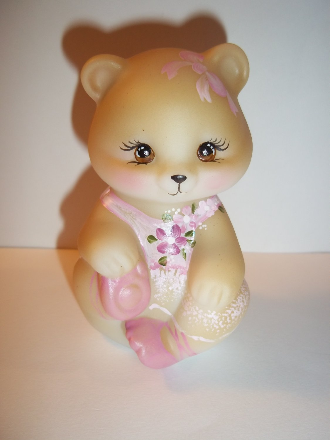 Fenton Glass Ballerina in Pink Tutu Sitting BEAR Figurine GSE M. Kibbe #2/13