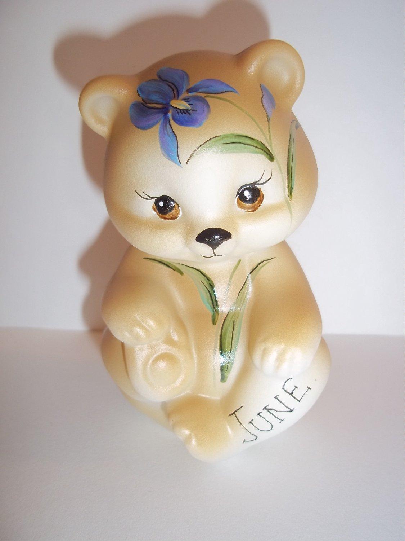 Fenton Glass June Birthday Blue Iris Flower Sitting BEAR Figurine GSE K Barley Limited Edition #4