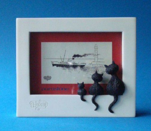 Threesome Three Cats Looking Out Window Ledge Picture Frame White by Dubout