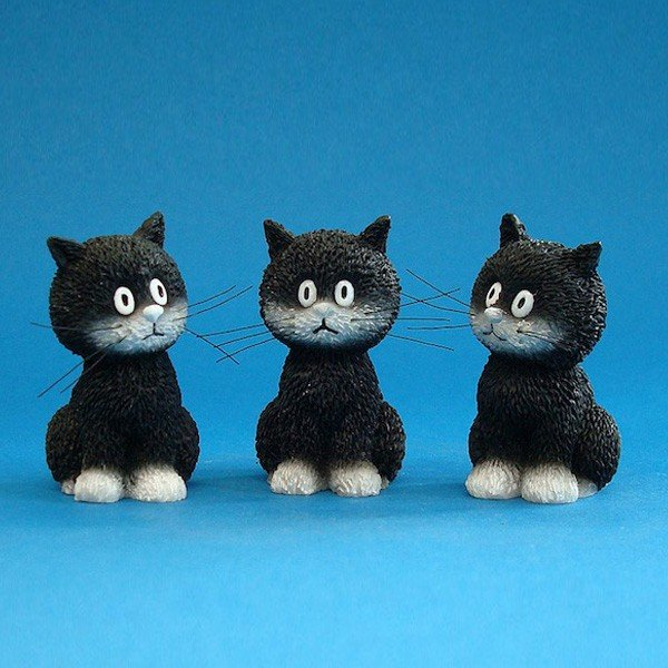 """Three Extra Baby Kittens """"Cats In A Row"""" Statue Figurine Albert Dubout France"""