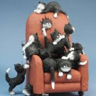 """Save Me A Seat"" Kittens Cats on High Back Chair Sculpture Statue Dubout France"