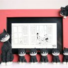 """Cats In A Line"" Red Sculpture Picture Frame Mom & Baby Kittens Albert Dubout France"