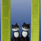 """On The Watch"" Two Cats Sitting In Window with Shutters Sculpture Statue Albert Dubout"