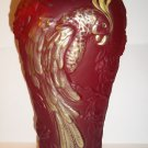 "Fenton Glass Ruby Red Satin Gold HP 12.5"" Parrot Vase NFGS Exclusive 2011"