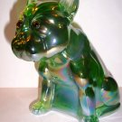 Green Opalescent Carnival Glass French Bulldog Doorstop Westmoreland Mold