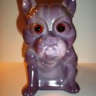 Rare Heliotrope Purple Glass French Bulldog Doorstop Westmoreland Mold