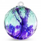 "6"" European Art Glass SpiritTree Embossed Leaf ""MULBERRY"" Witch Ball Kugel"
