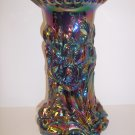 Fenton Art Glass Black Carnival Iridized Heavy Iris Vase 12""