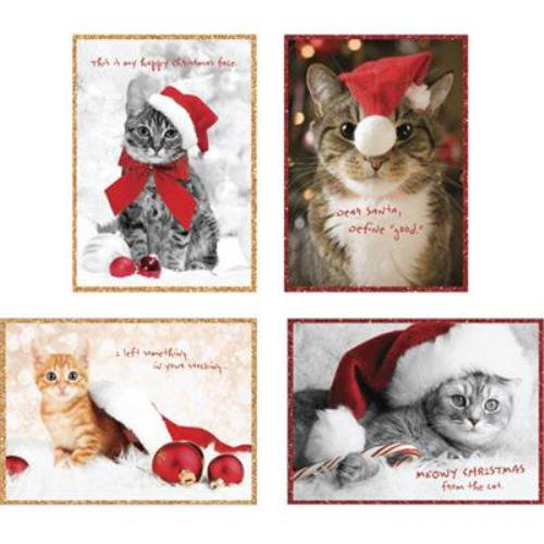 """Holiday Cats Boxed 4"""" x 6"""" Christmas Cards (20) Glitter & Foil Embellished with Envelopes"""