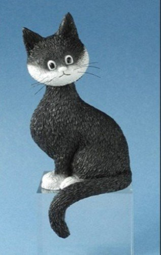"""""""Little Miss Precious"""" Cat Looking with Tail Curled Statue Sculpture by Dubout"""