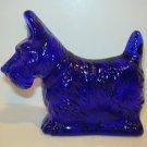 Mosser Glass Cobalt Blue Scottie Scotty Westie Terrier Dog Figurine Made In USA!