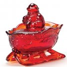Mosser Glass RUBY RED CHRISTMAS SANTA SLEIGH Covered Candy Dish Bowl